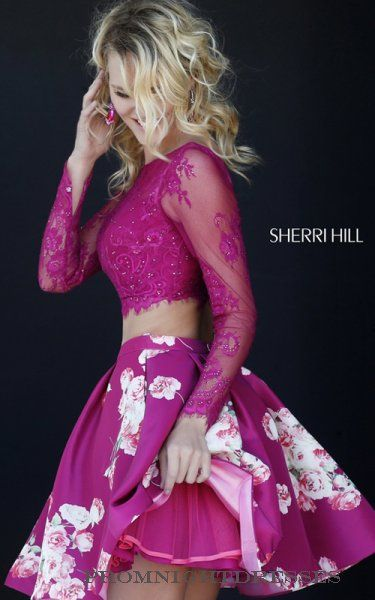 Gorgeous Two Piece Sherri Hill 32323 Plum Lace Prom Dress