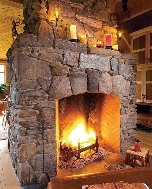 Al calor del fuego de una chimenea de piedra llars de - Chimeneas de piedra ...