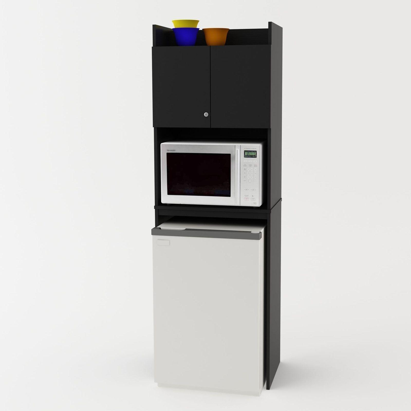 Tall Kitchen Storage Cabinet Fridge Microwave Dorm Studio