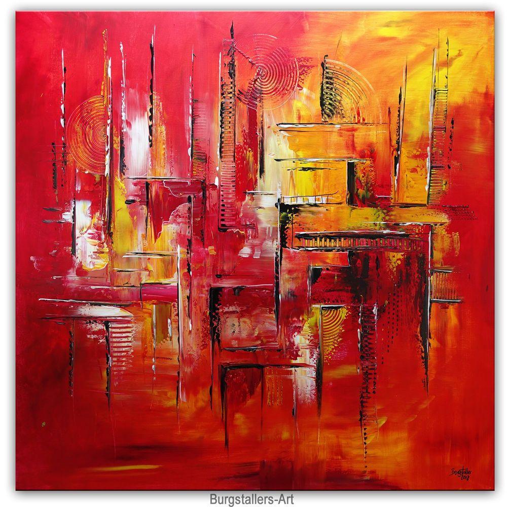 Burgstaller Feuerlabyrinth Abstraktekunst Malerei Kunst Rot Gelb