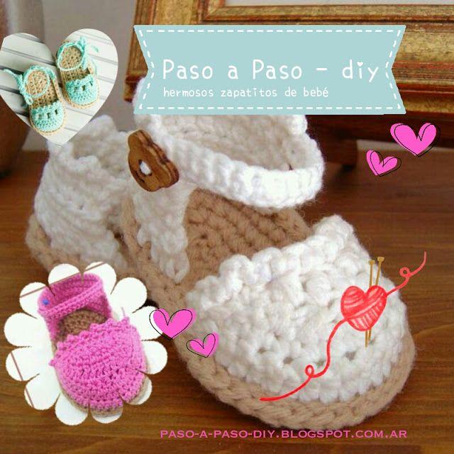84904da65 Zapatitos tejidos - Paso a Paso Sandalias Tejidas Para Bebe