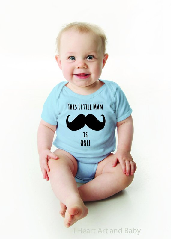 d85a48bf2 This Little Man is One, Mustache First Birthday Outfit Boy, Baby Boy Mustache  Shirt, One Year Old Bo