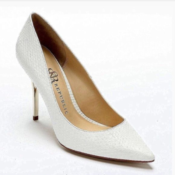 "Rock & Republic White Heels Rock & Republic White Heels come in white with a textured surface and gold heel. 100% Man Made Materials. Size: 8 Heel to Toe: 10"" Width: 3"" Heel Height: 4"". A couple light scuffs but in like new condition. Rock & Republic Shoes Heels"