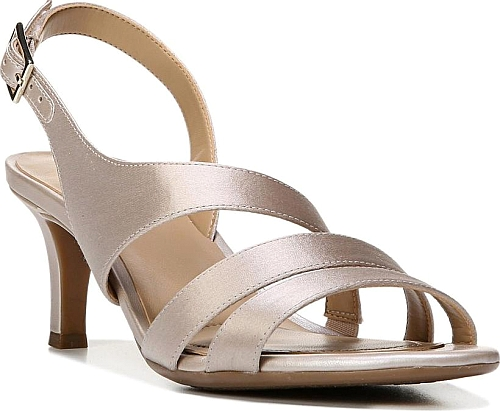 890b15d1ee33 Naturalizer Women s Shoes in Champagne Fabric Color. Asymmetrical straps  define a stylish sandal set on a versatile mid heel.