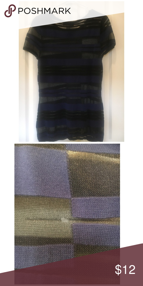 INC International Concepts Striped Top  Size M Navy & Black striped. Has barely been worn ,but has a small hole( see pic).   50 % Rayon/10 % Nylon/ 35% Cotton/ 5% Polyester Machine Wash Cold Tumble Dry Low INC International Concepts Tops