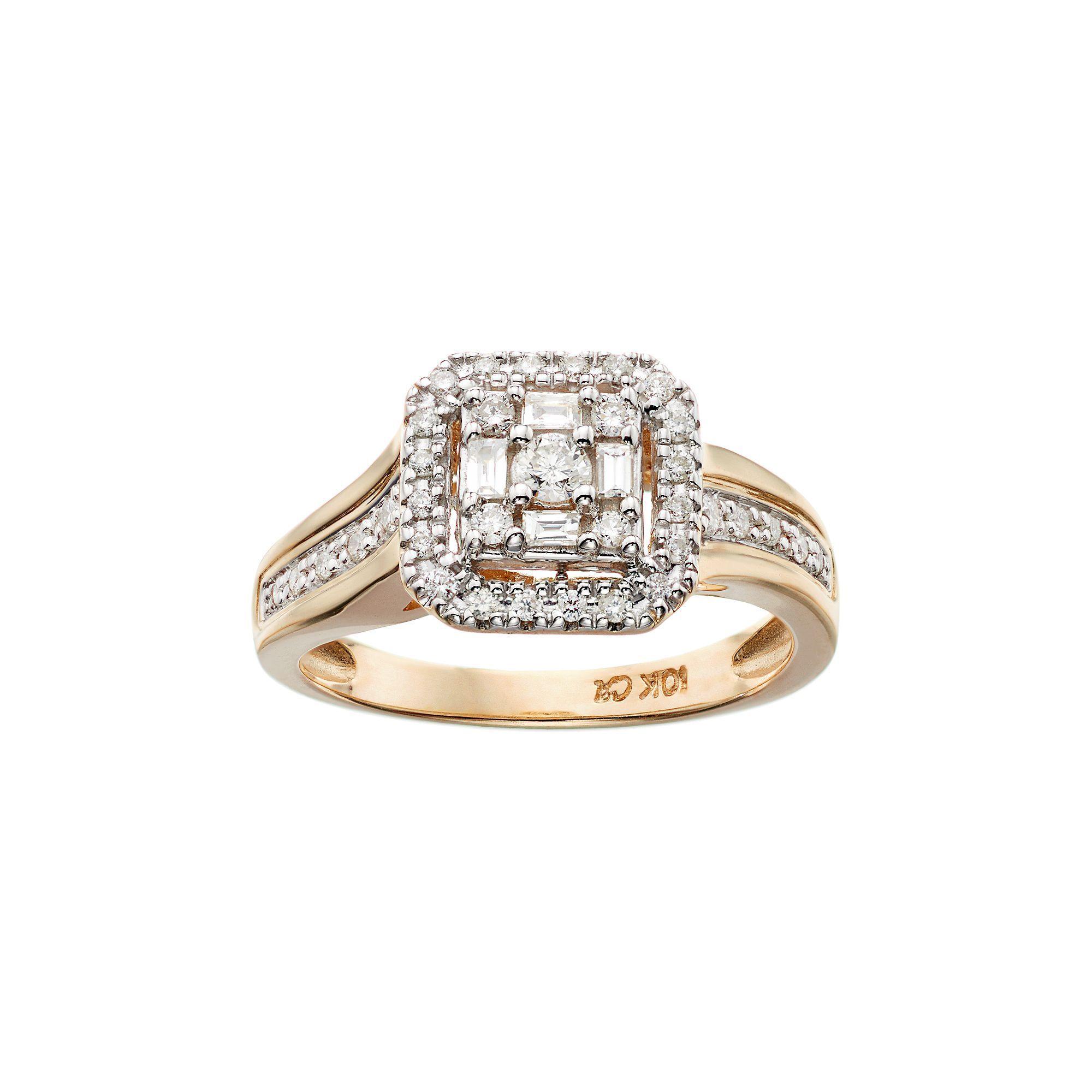 Cherish Always 10k Gold 1 3 Carat T W Certified Diamond Halo Engagement Ring Women S Size 7 Whi Halo Diamond Engagement Ring Halo Diamond White Gold Rings