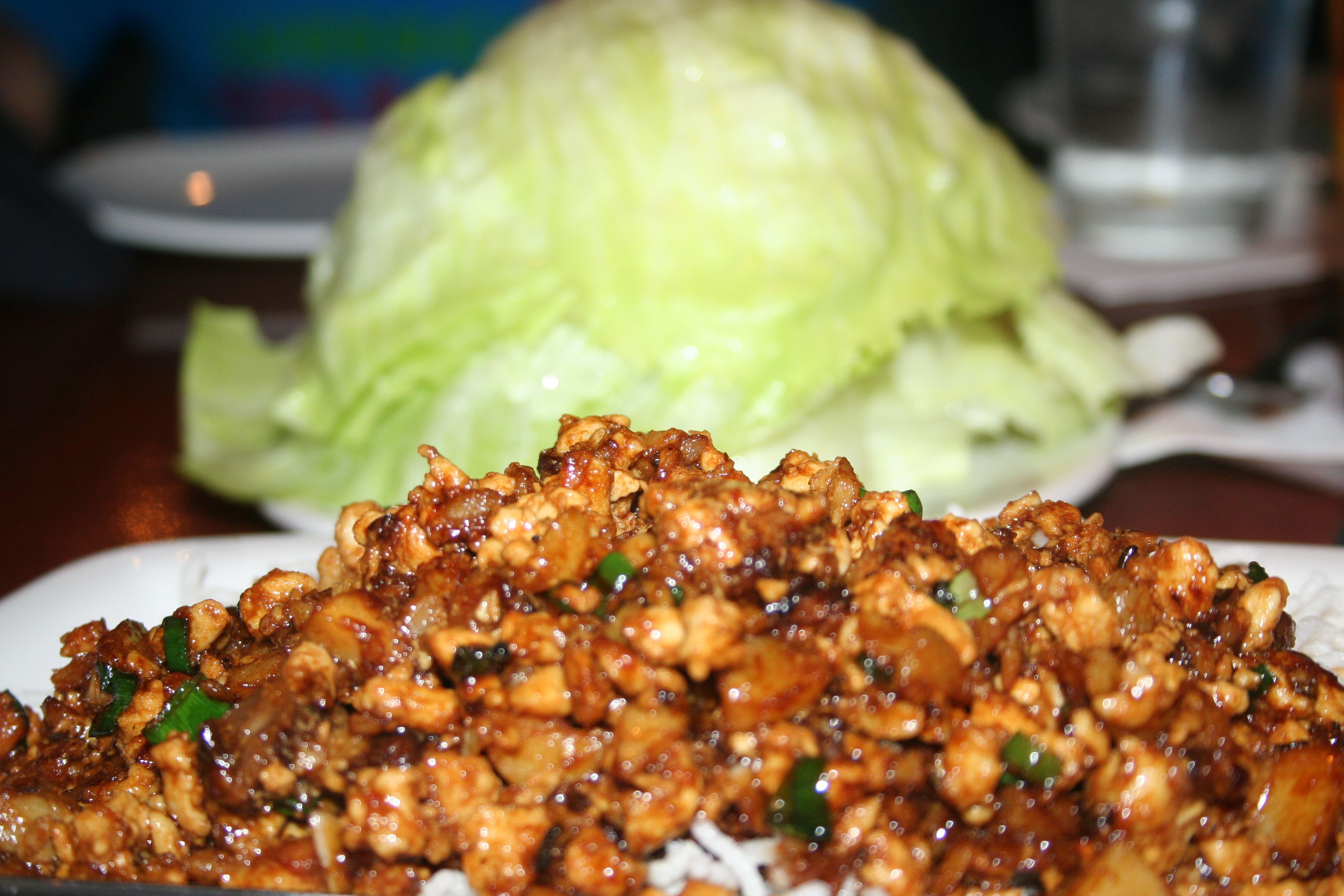 lettuce wraps at Pei Wei... irresistibly good. Copykat