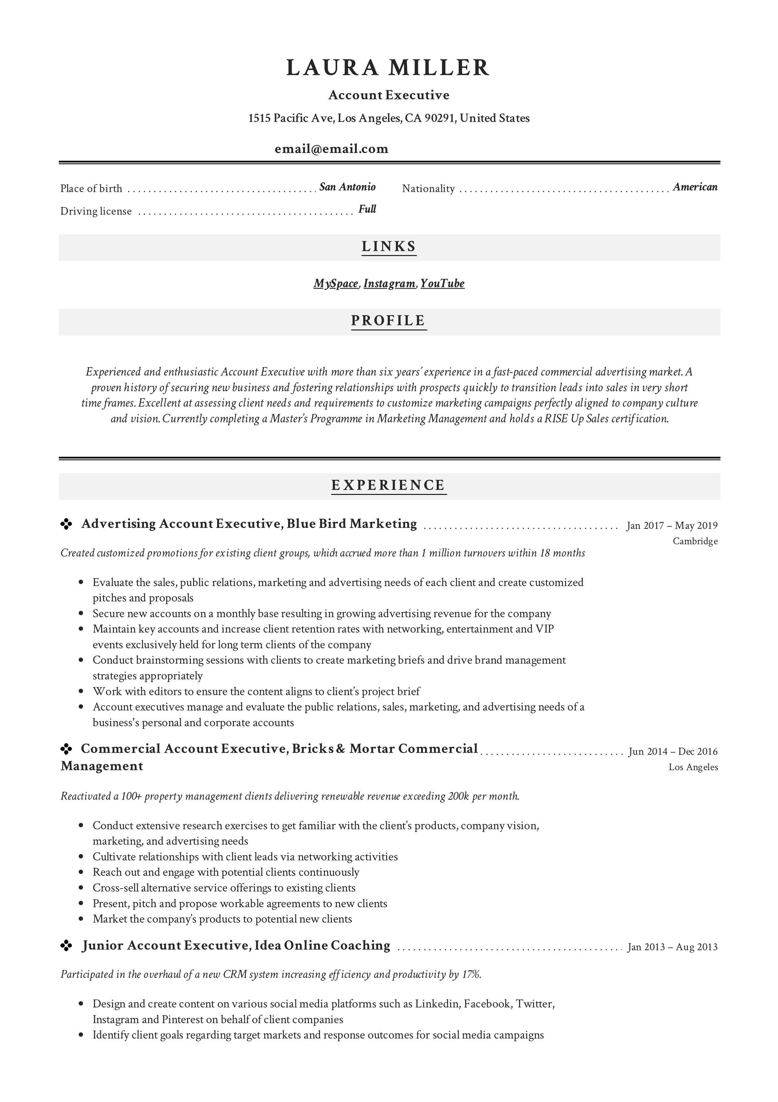 Account Executive Resume Sample Resume Guide Resume Examples Resume Template Professional