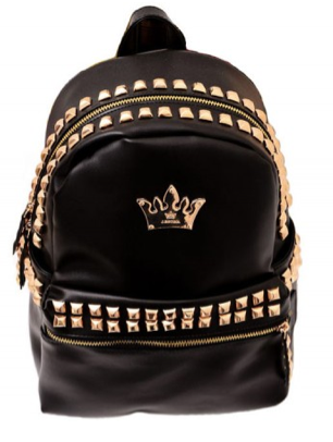 4b2776d4cf1 Studded Black PU Leather Backpack