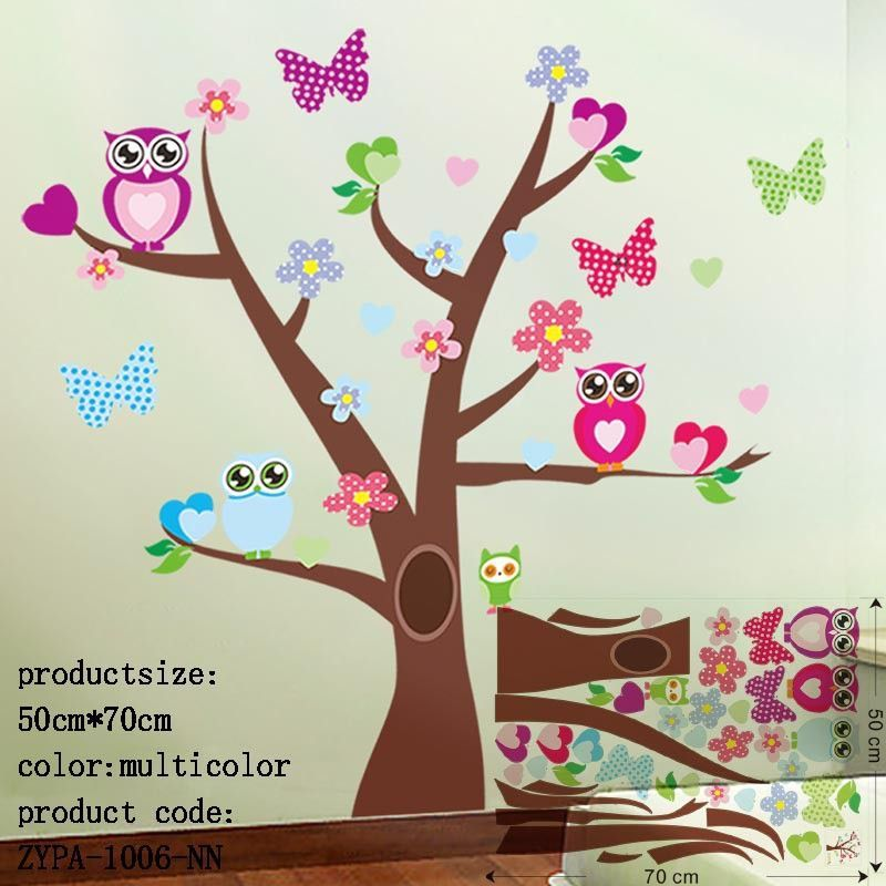 Owl Wall Stickers For Kids Room Decorations Animal Decals Bedroom