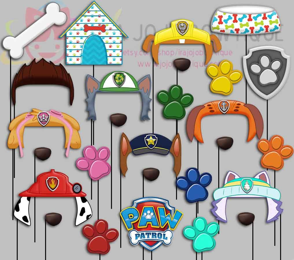 Perros Foto Fiesta Booth Props Pata Patrulla Por
