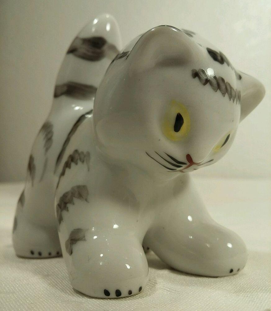 Dmitrov Verbilki USSR 1960's Cat/Kitten Figure EXCELLENT CONDITION  #DmitrovPorcelainFactory