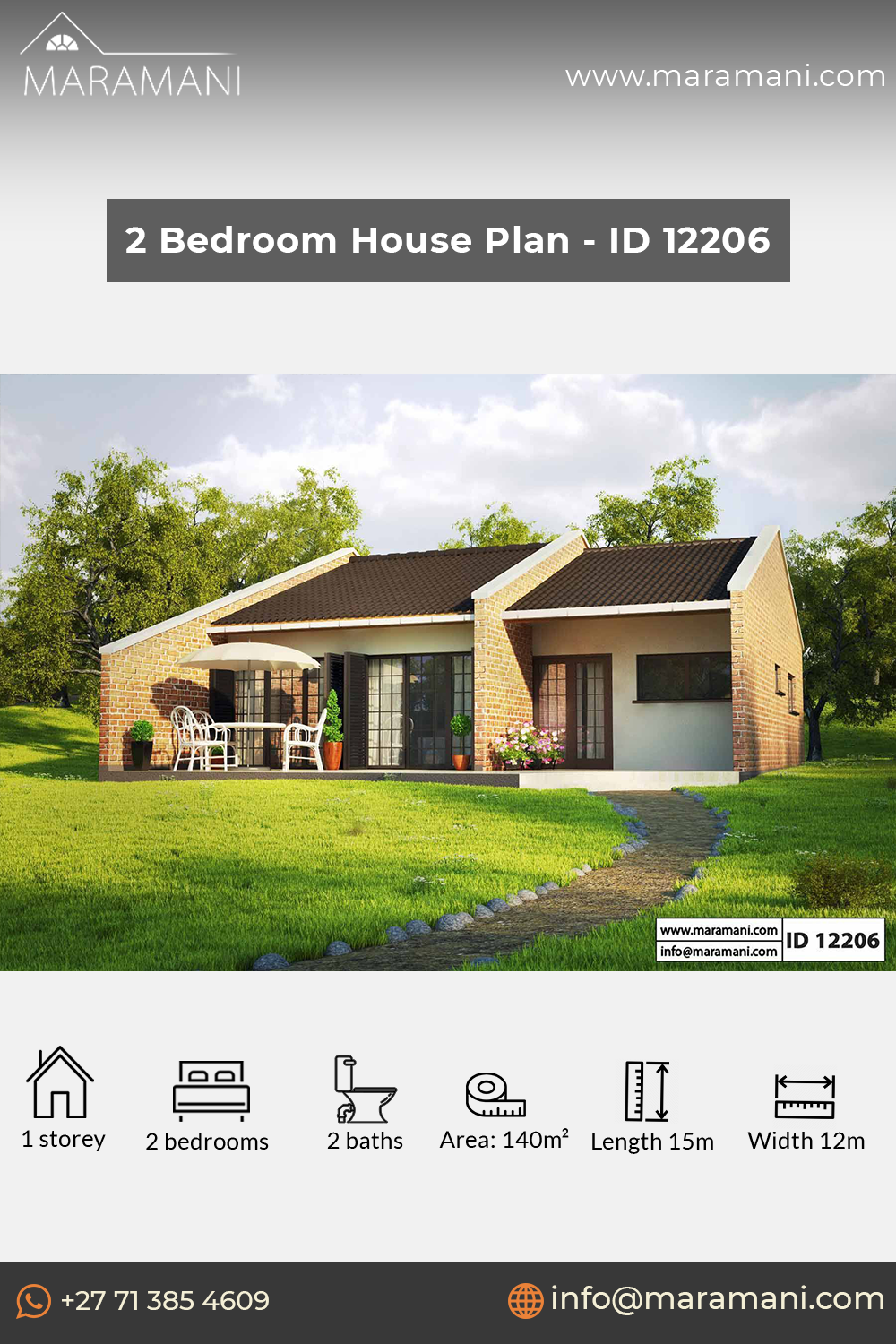 Small Brick House Design Id 12206 House Plans By Maramani In 2020 Bedroom House Plans Brick House Designs 1 Bedroom House Plans