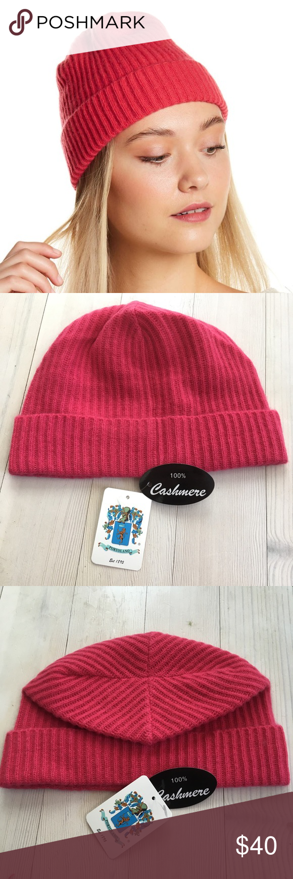 a85999c42ae Portolano Ribbed Cuffed 100% Cashmere Beanie Hat Portolano Ribbed Cuffed 100%  Cashmere Beanie Hat Women s NWT  85 Candy Pink. New with tags. Very soft.