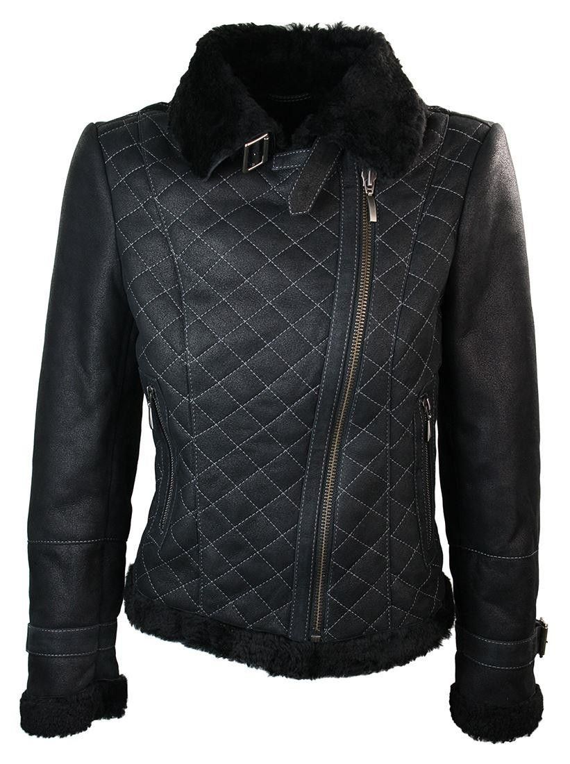 47e26f0df30 Ladies Women Sheepskin Flying Buckle Winter Jacket Black Original.  Women   Sheepskin  Flying  Winter  Jacket  Black  fashion  style  shopping   clothing