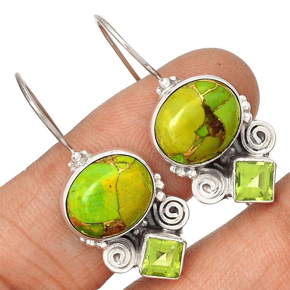 Copper Green Turquoise & Peridot 925 Sterling Silver Earrings Jewelry SE128183