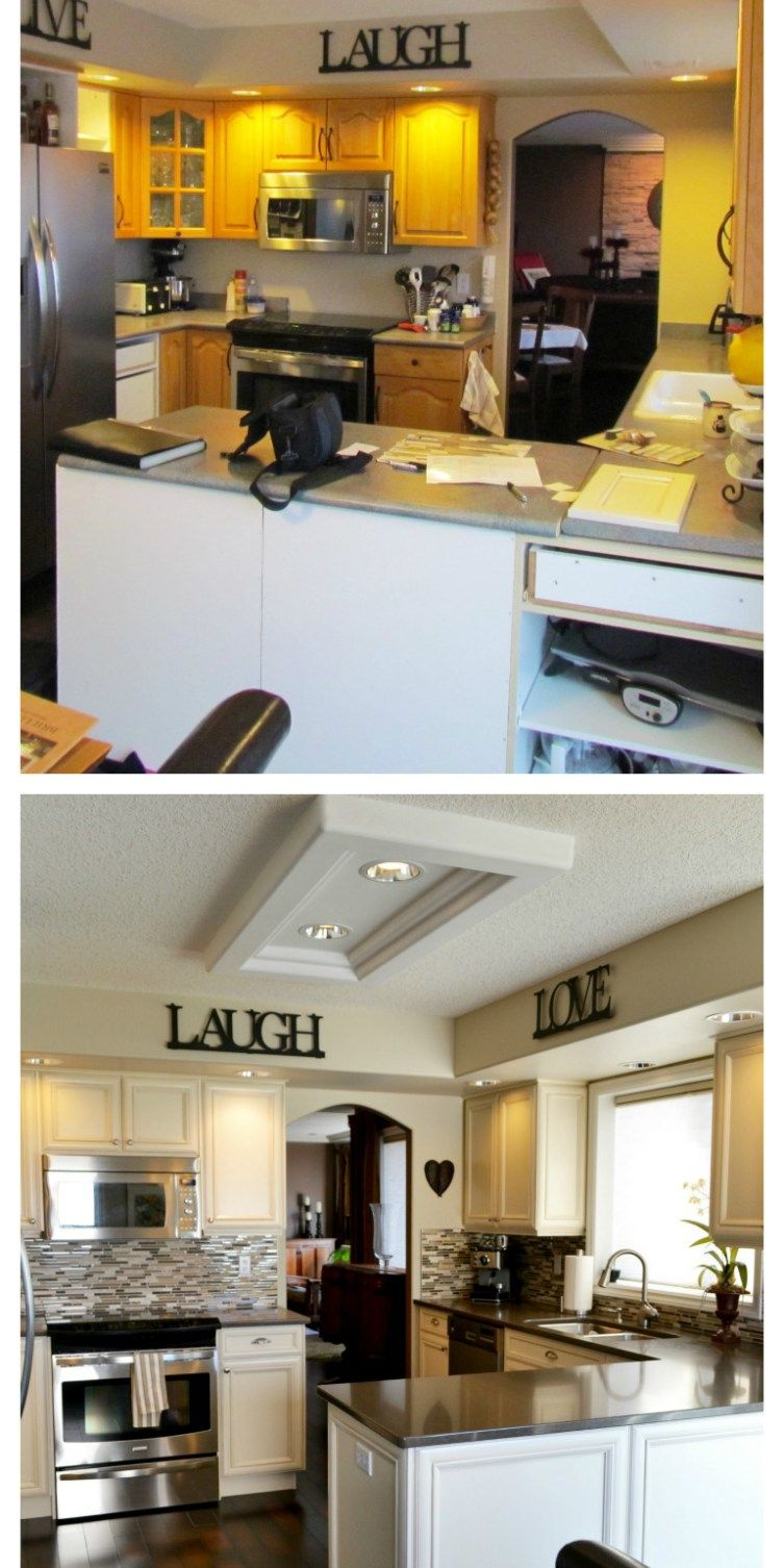 before and after oak kitchen update with
