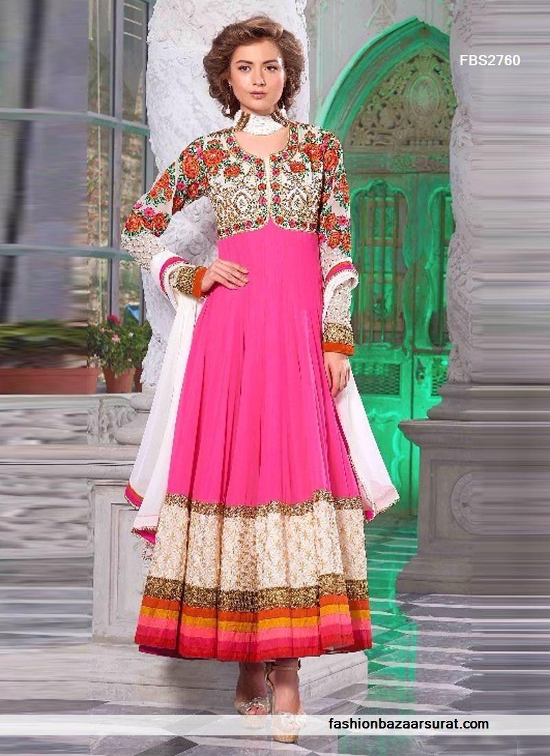 Hot pink and white highest anrakali salwar suit hint pinterest