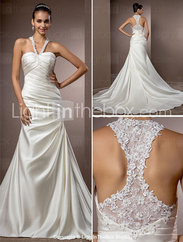 Lanting Bride Trumpet Mermaid Petite Plus Sizes Wedding Dress Chapel Train Halter Satin