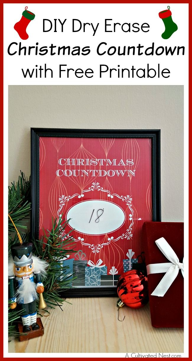 DIY Dry Erase Christmas Countdown with Free Printable | Advent ...