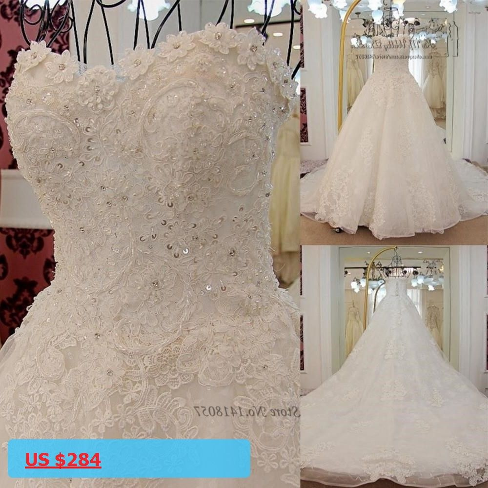 Korean princess wedding dress plus size lace wedding gowns long