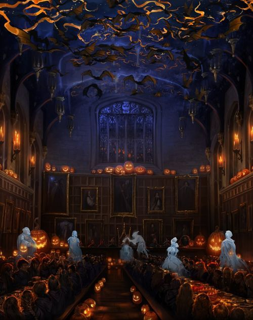 The great hall decorated for all hallow 39 s eve the art of halloween pinterest hall - Deco hal halloween ...