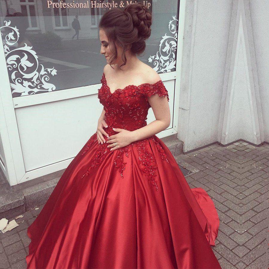 Elegant V Neck Lace Off Shoulder Ball Gowns Satin Dress For