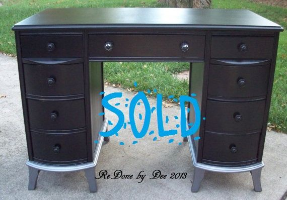 black vanity desk with mirror. Customize A Painted Vintage Gloss Black Vanity Desk With Silver Feet And  Mirrored Knobs SOLD By ReDonebyDee