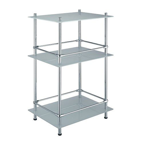 WasserKRAFT - Triple freestanding glass shelf with rail K-4033 ...