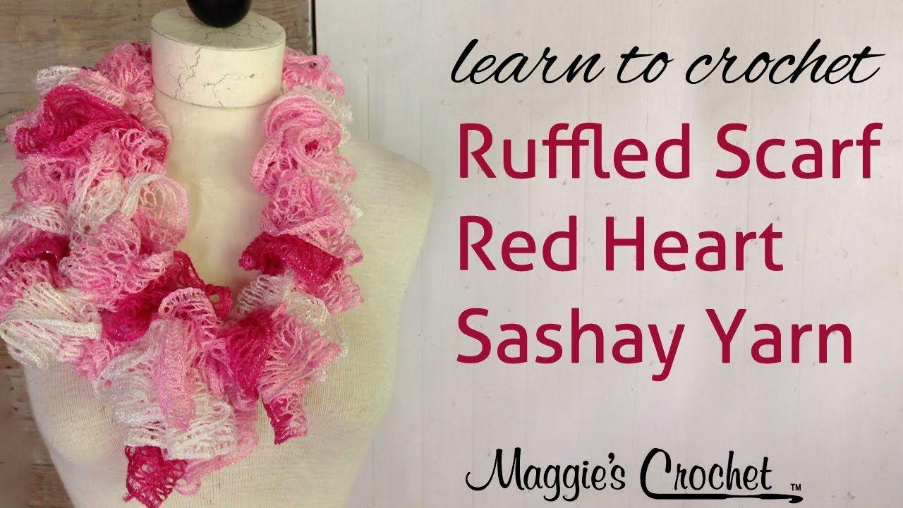 Crochet Red Heart Boutique Sashay Yarn Ruffle Scarf | tejidos ...