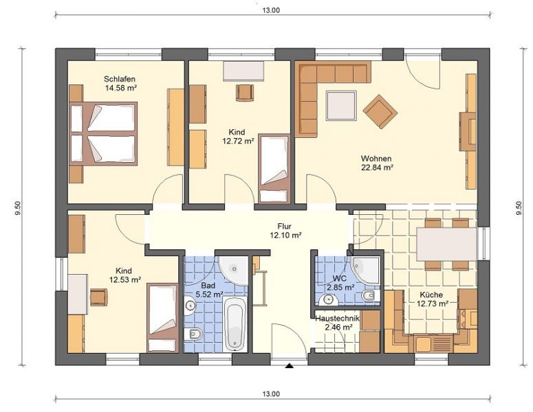 bg3 bungalow grundriss 98qm 4 zimmer ev plan pinterest bungalow haus and tiny houses. Black Bedroom Furniture Sets. Home Design Ideas