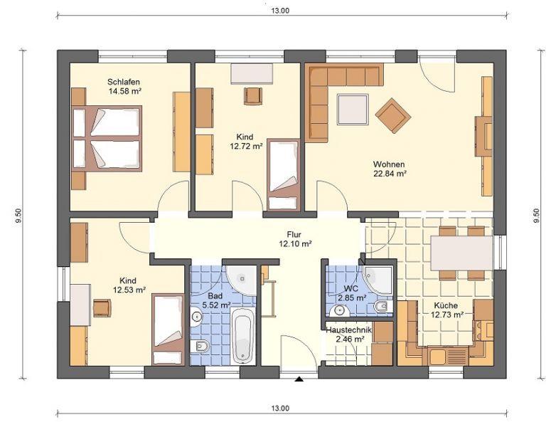 BG3 Bungalow Grundriss 98qm 4 Zimmer ev planı Pinterest - offene kuche wohnzimmer grundriss