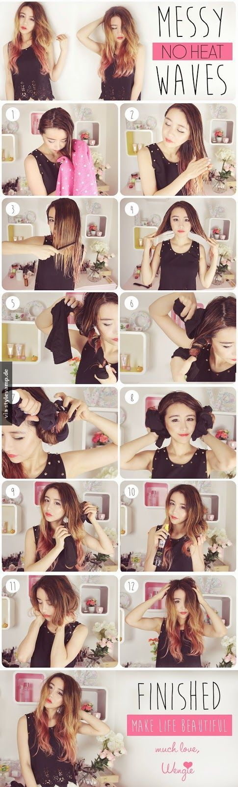 Perfekte Wellen Ohne Hitze Frisuren Hair Styles Messy