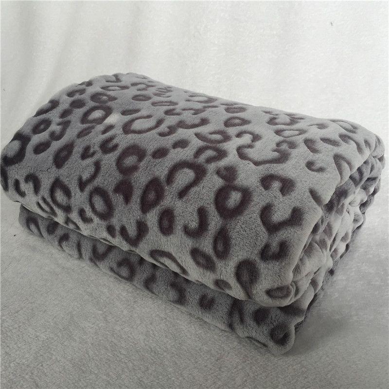 Beddowell Flannel Coral Fleece Sofa/Couch/Knee Blanket Leopard Printed Faux  Fur Mink Throw