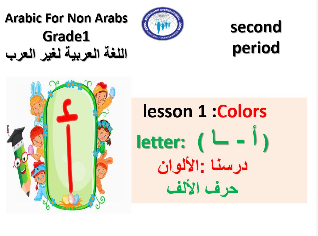 بوربوينت حرف الالف لغير الناطقين بها للصف الاول مادة اللغة العربية Lettering Lesson Grade 1