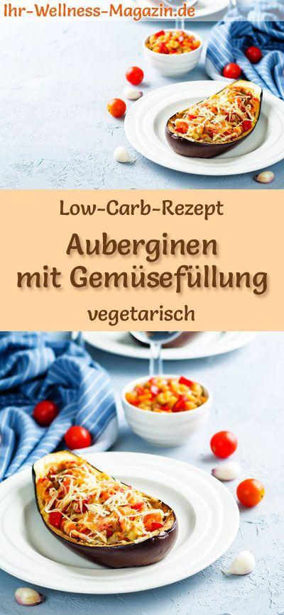 Low-Carb-Rezept für Auberginen mit Gemüsefüllung – vegetarisches Hauptgericht