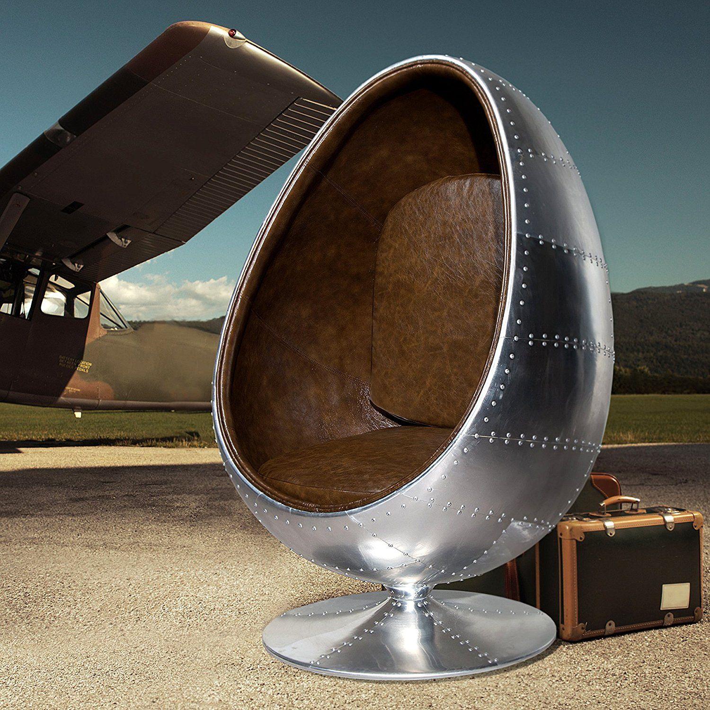 Design Lounge Sessel Sitzei SPACE EGG Alu Silber Vintage Braun: Amazon.de:  Küche