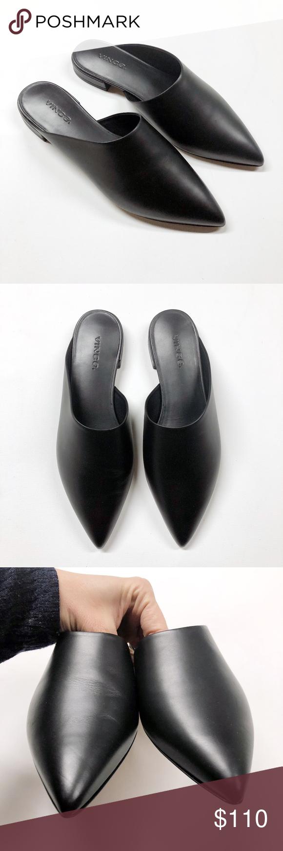 VINCE Danna Black Leather Slide On