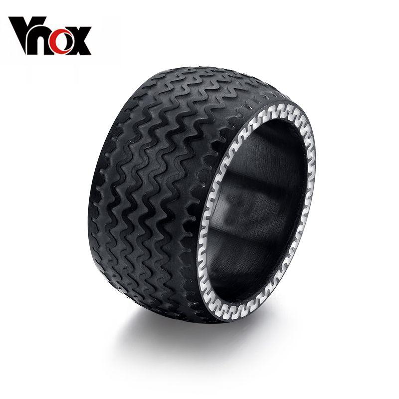 Vnox 블랙 남성 링 타이어 디자인 펑크 자전거 웨딩 반지 생일 선물