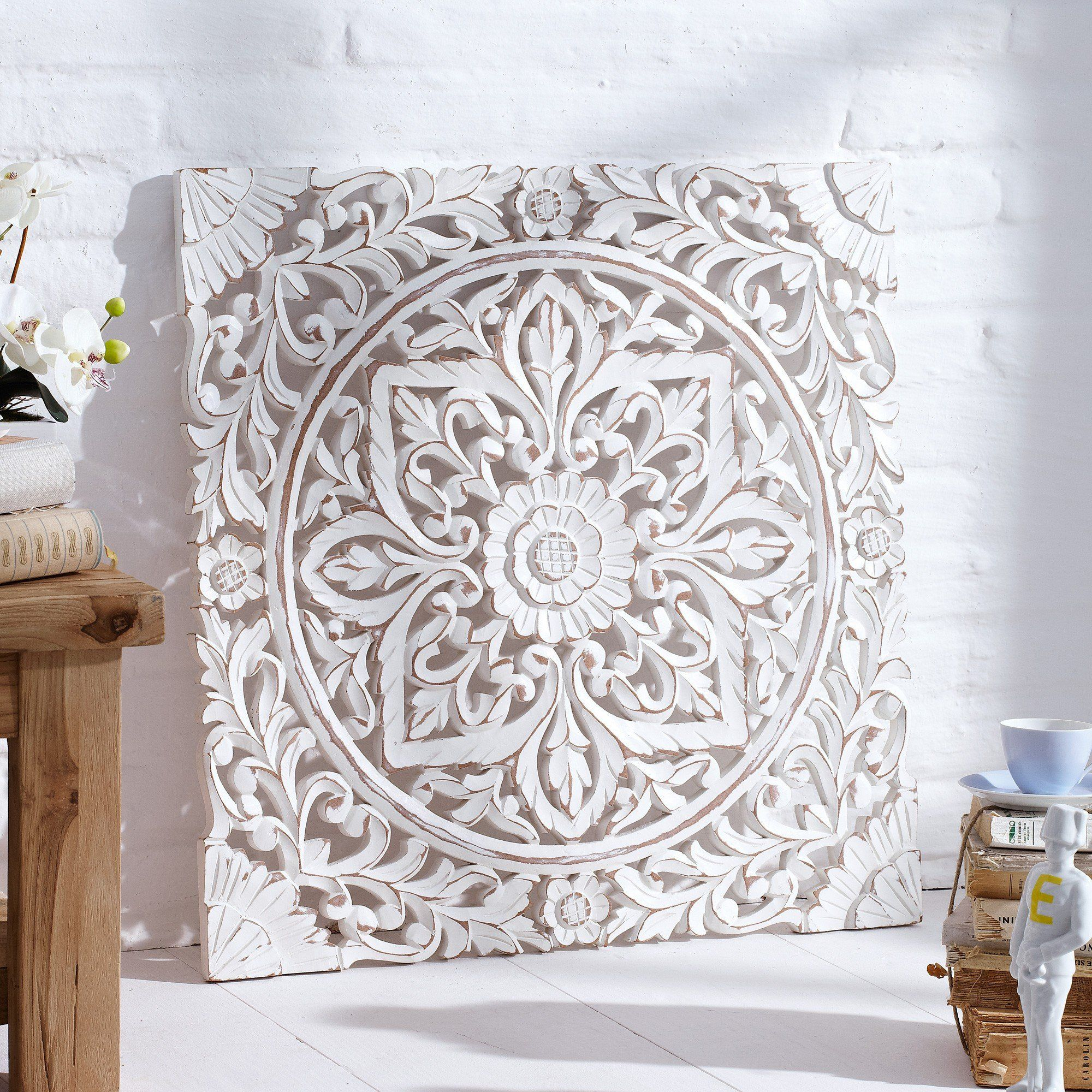 Carved Wooden Wall Panel Distressed White Amazon Co Uk