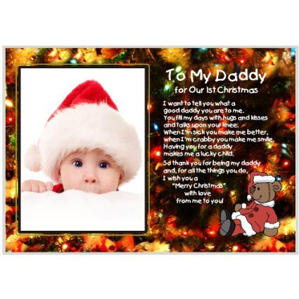 Amazon Com Daddy Gift From Baby First Christmas Together Clear 5x7 Inch Frame Add Phot Baby Christmas Gifts Dads First Christmas Grandparents Christmas