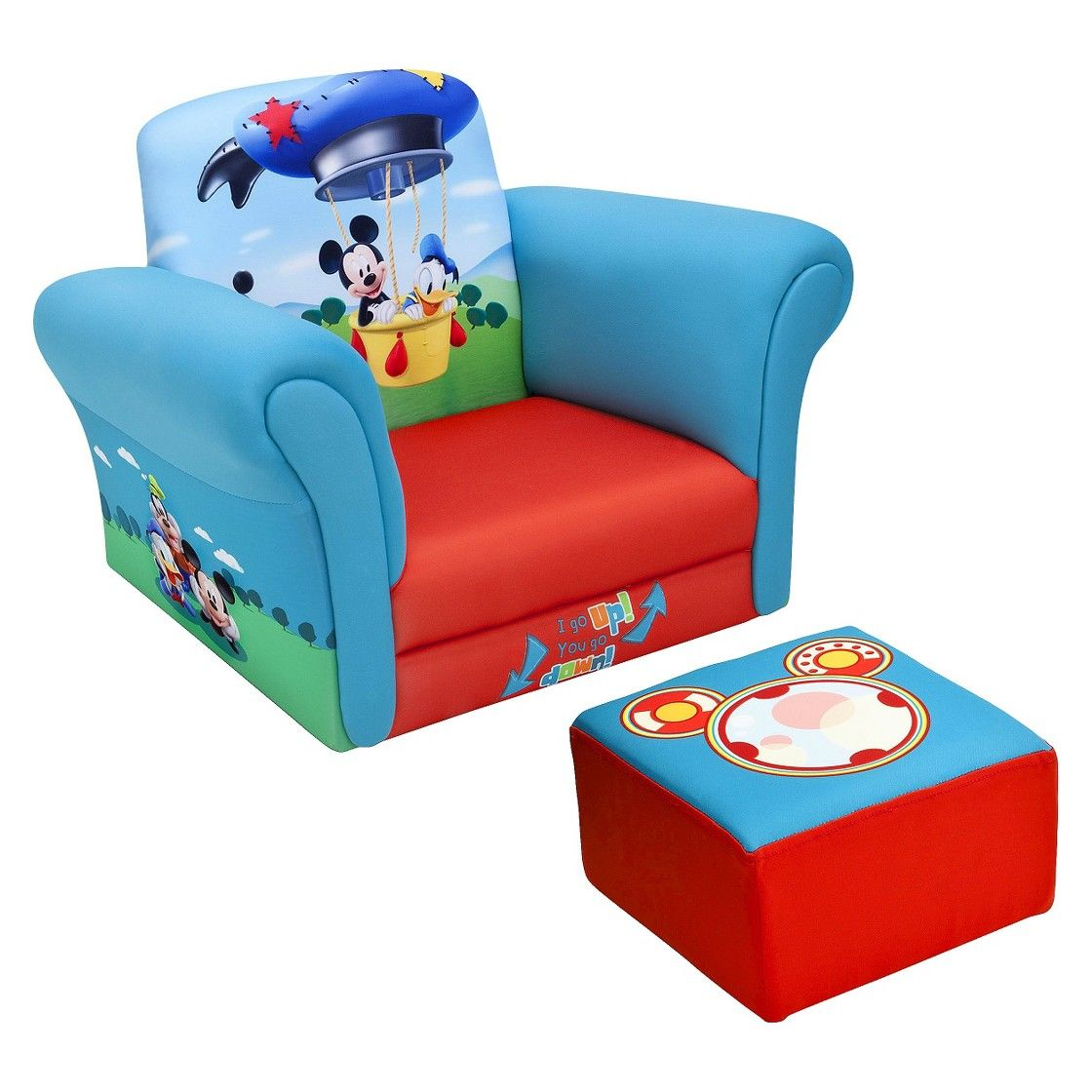 Delta Children Upholstered Chair with Ottoman  Disney