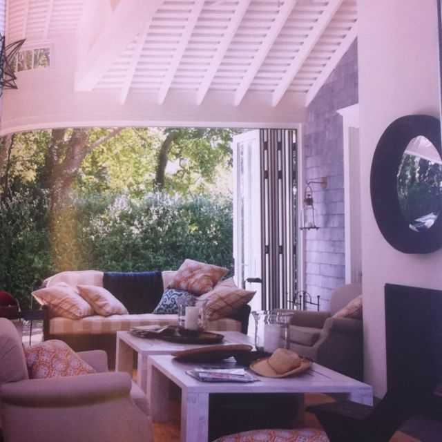 Outdoor space with doors that can close off the room.