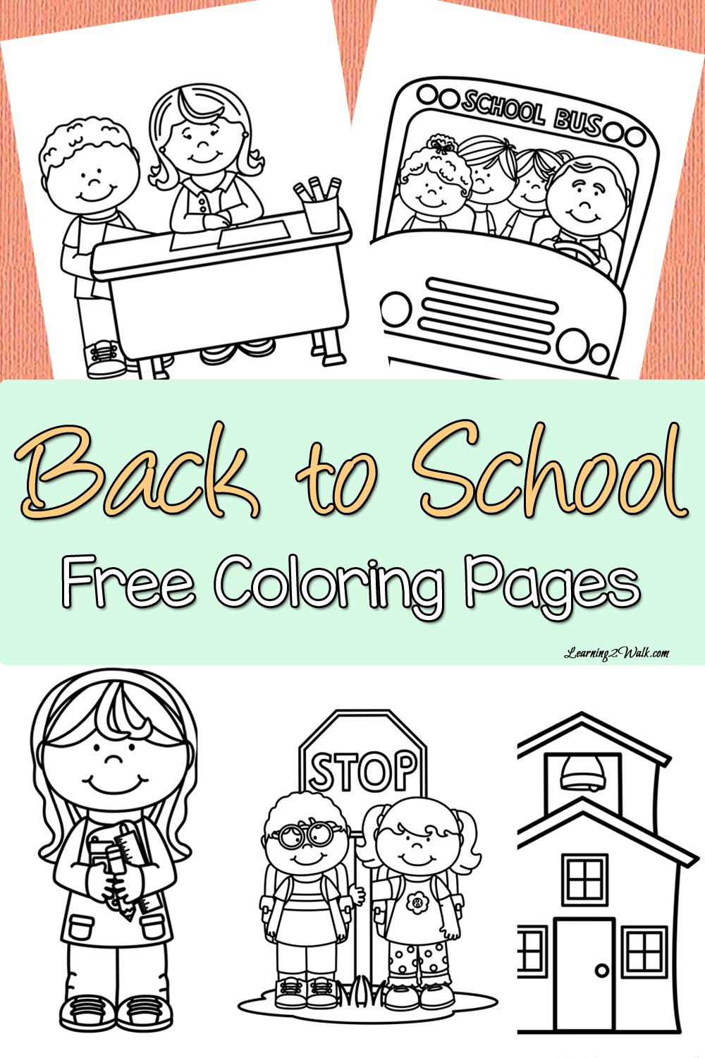 Back to School Free Coloring Page Set School coloring