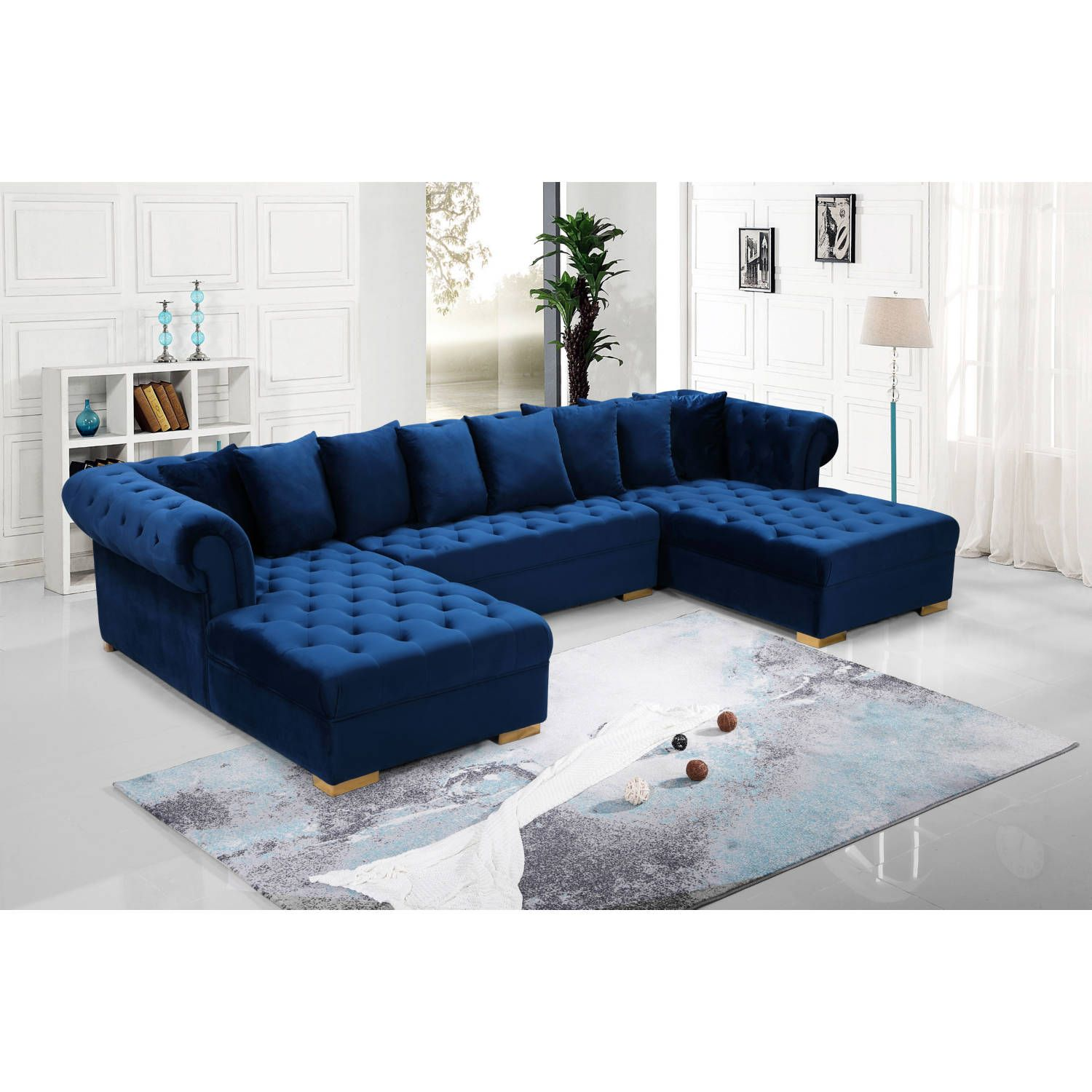 Dynamic Home Decor Presley 3 Piece Sectional Sofa In Tufted Navy Blue Velvet Sectional Sofas Living Room Sectional Sofa Meridian Furniture