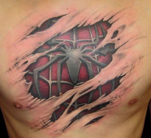 One Of The Best Tattoos Ever Spiderman Chest Tattoo Ripped Skin Tattoo Weird Tattoos