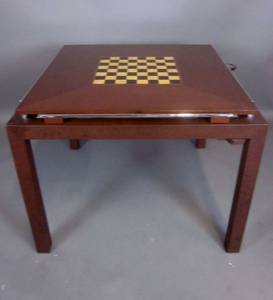 High End Custom Made Wood Chrome Game Table By Marcusso Designs