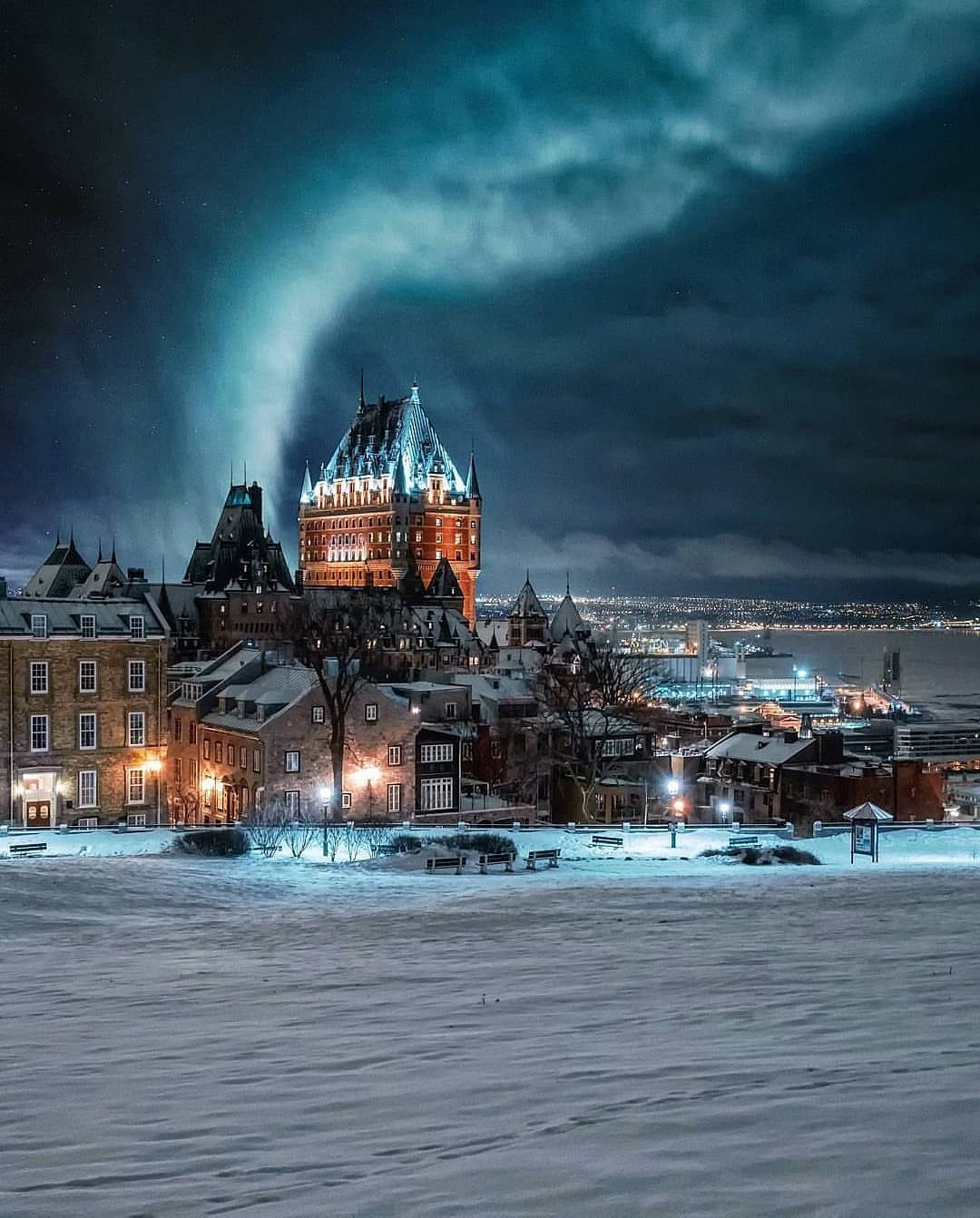 Northern Lights Over Quebec City Picture By Manucoveney Quebec City Canada Pictures Travel Around The World