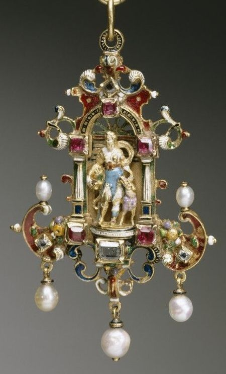 A Renaissance pendant depicting the Goddess Diana, composed of gold, enamel, diamonds, rubies and pearls. With 19th century restorations. #Renaissance #antique #pendant
