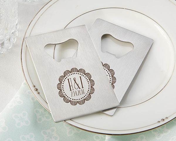 Personalized Credit Card Bottle Openers Are Memorable Favors For A Boho Wedding